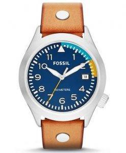 Fossil Aeroflite 100M Three-Hand Date Tan Leather AM4554 Mens Watch