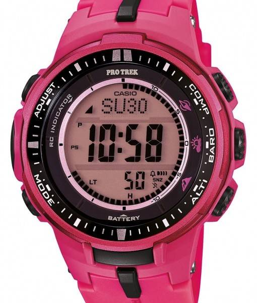 Casio Protrek Atomic Tough Solar Triple Sensor Pink PRW-3000-4B Mens Watch