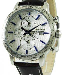 Seiko Alarm Chronograph World Time SPL051P1 SPL051P SPL051 Mens Watch