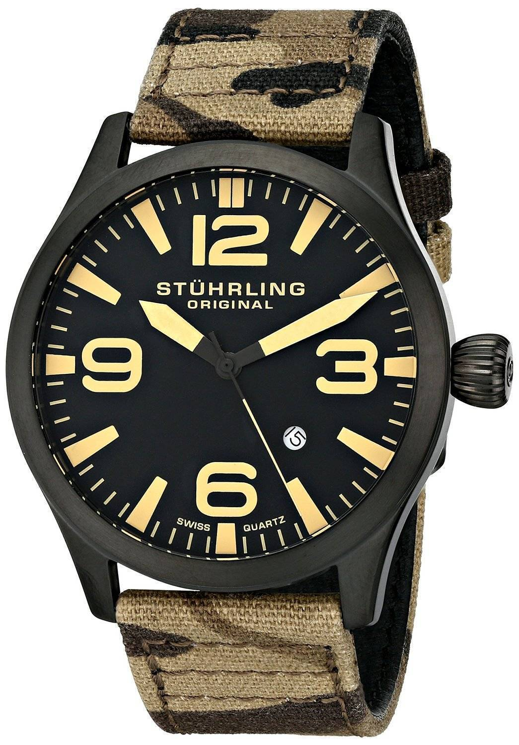 Stuhrling Original Aviator Swiss Quartz Camouflage Canvas 141C.02 Mens Watch