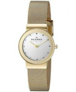 Skagen Freja Gold Tone Mesh Bracelet Crystallized 358SGGD Womens Watch