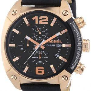 Diesel Overflow Chronograph Black Dial Black Leather DZ4297 Mens Watch