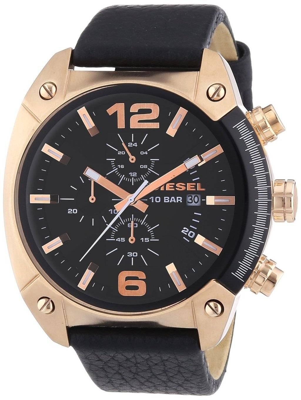 dddbafb64 Diesel Overflow Chronograph Black Dial Black Leather DZ4297 Mens Watch