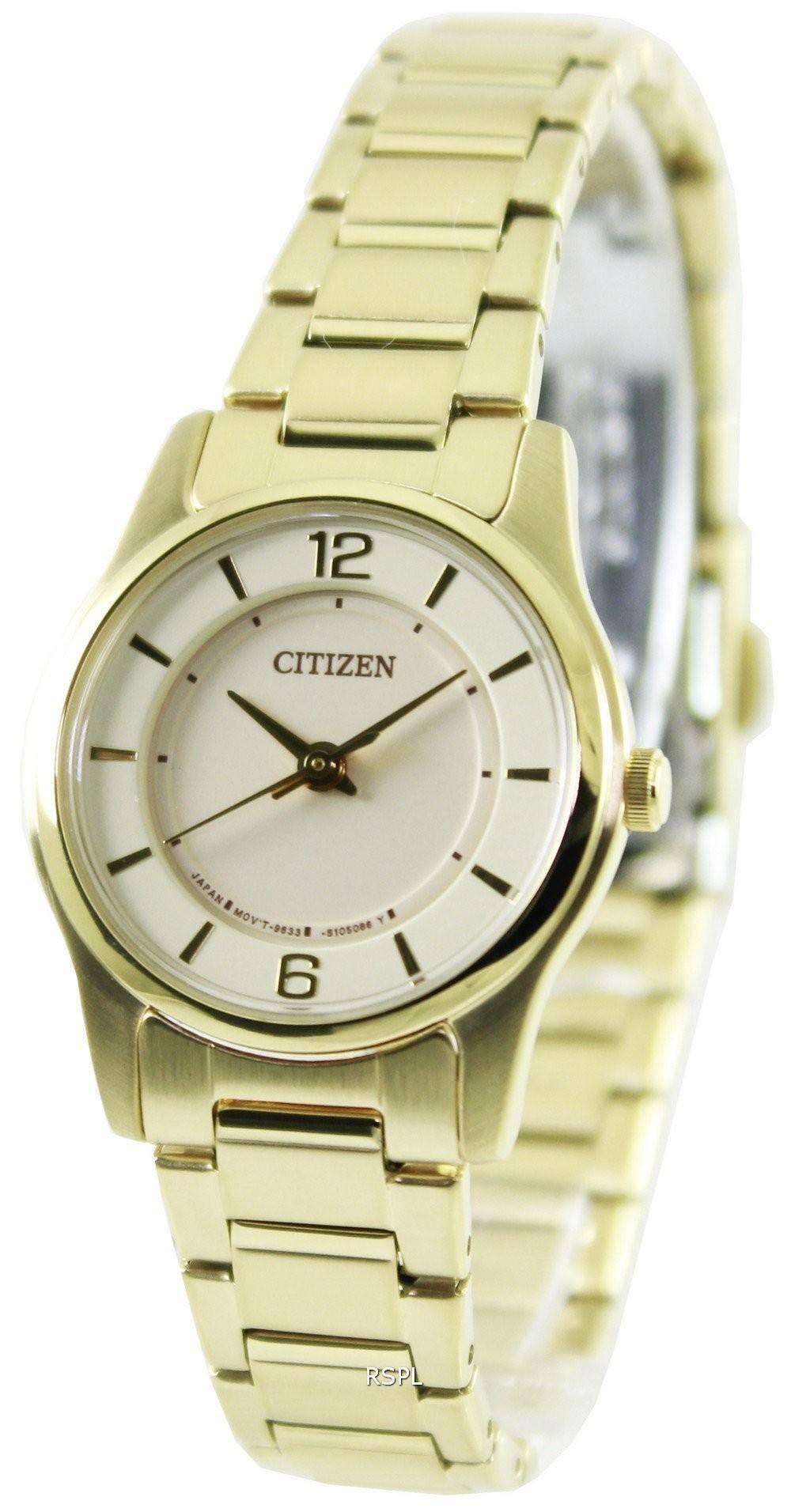 Citizen Quartz Gold Tone ER0182-59A Womens Watch ...
