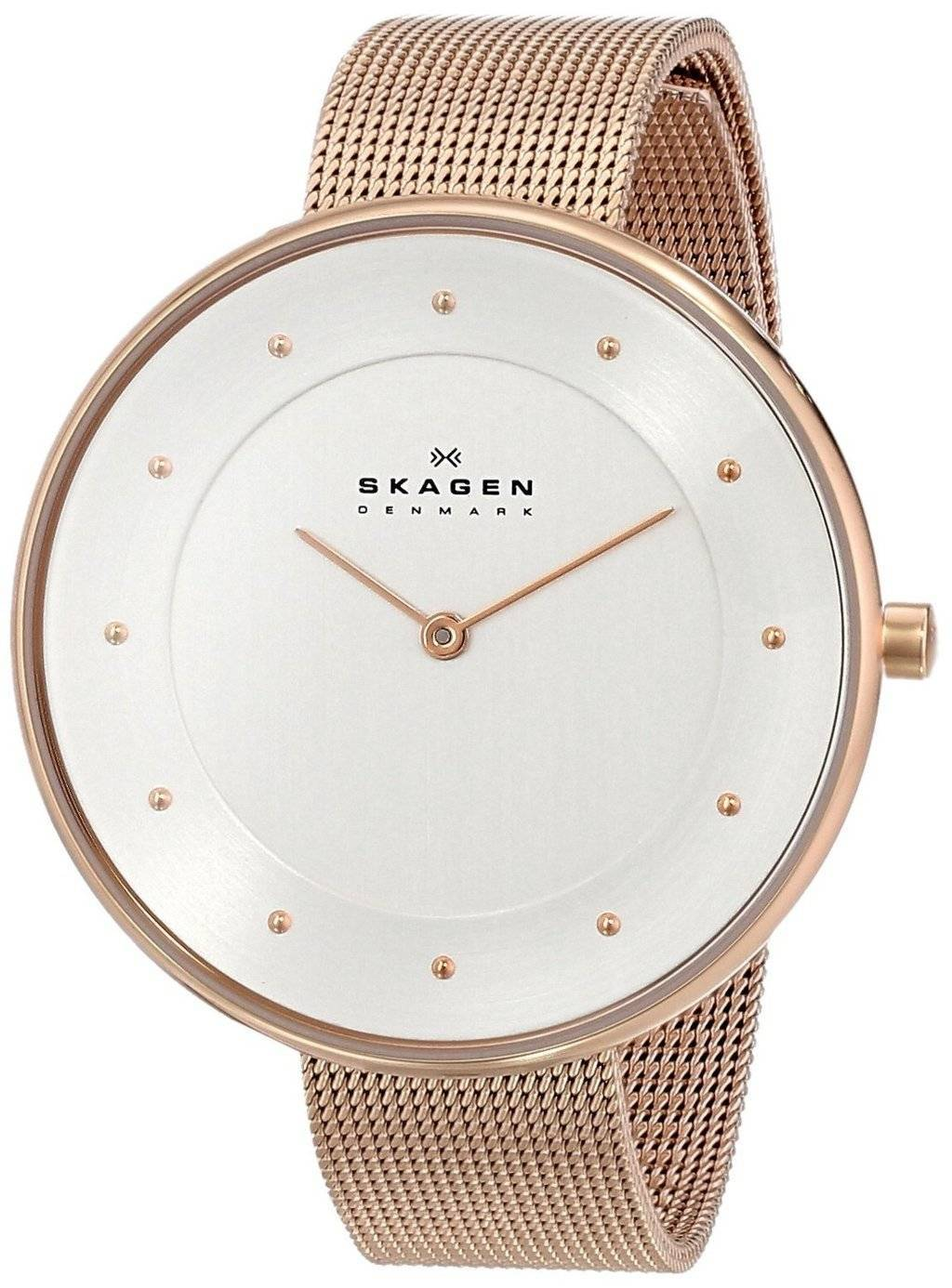 Skagen Silver Dial Rose Gold-Tone Mesh Bracelet SKW2142 ...