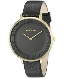 Skagen Ditte Black Dial Black Leather SKW2286 Women's Watch