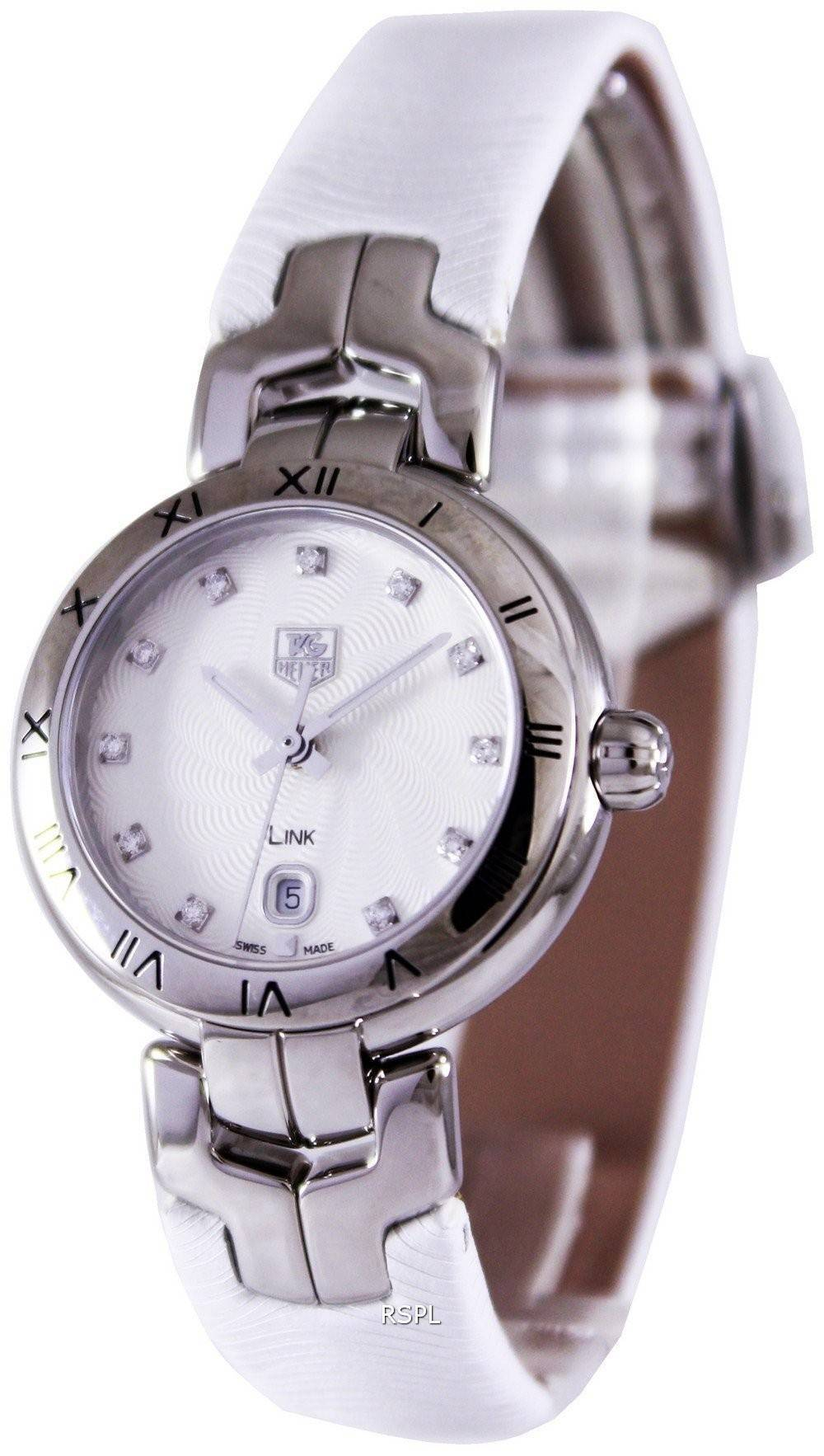 Tag heuer link bracelet diamond dial wat1411 fc6316 womens watch for Tag heuer women