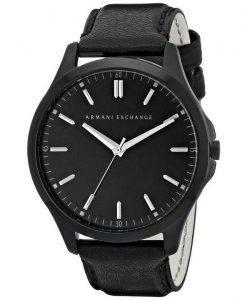 Armani Exchange Quartz Black Dial Black Leather Strap AX2148 Men's Watch