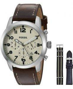 Fossil Pilot 54 Chronograph Leather And Nylon Box Set FS5182SET Mens Watch