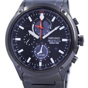Seiko Sportura World Time Solar Chronograph SSC481 SSC481P1 SSC481P Mens Watch