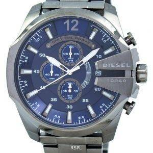 Diesel Mega Chief Chronograph Blue Dial 100M DZ4329 Mens Watch