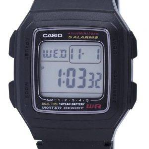 Casio Digital 5 Alarms Dual Time Illuminator F-201WA-1ADF F-201WA-1A Mens Watch