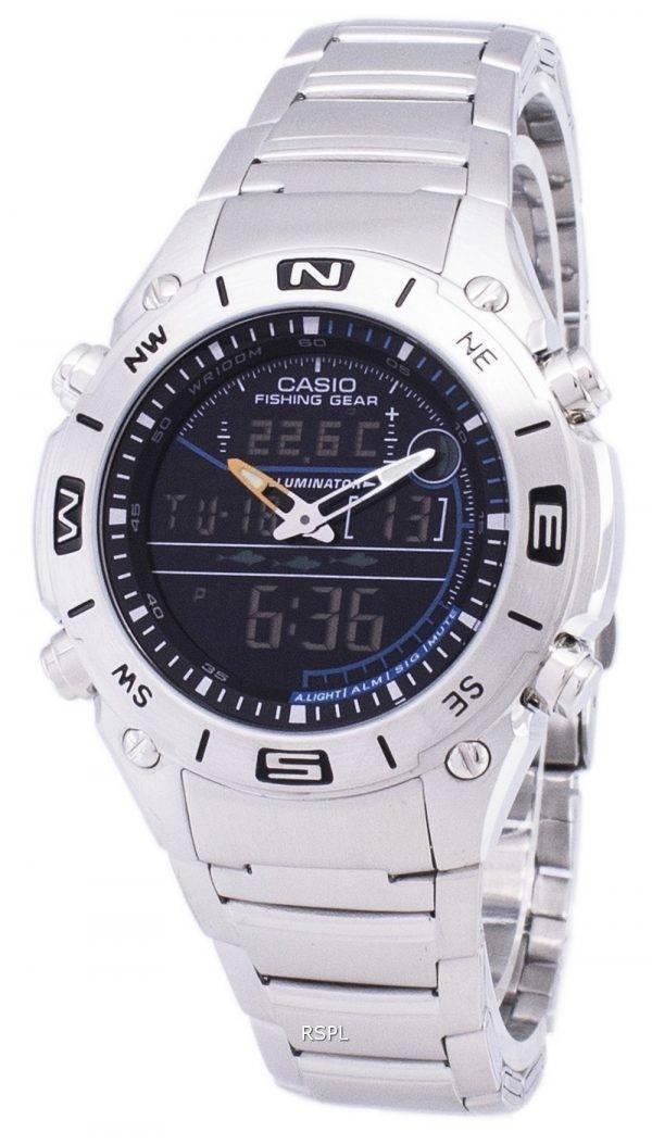 Casio Analog Digital Fishing Gear World Time AMW-703D-1AVDF AMW-703D-1AV Mens Watch