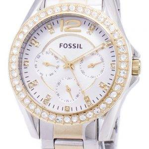 Fossil Riley Multifunction Silver And Gold Tone Crystal Dial ES3204 Womens Watch