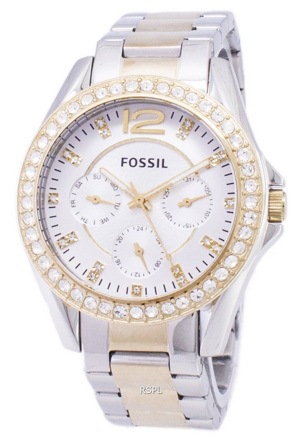 9479de3bc06 Fossil Riley Multifunction Silver And Gold Tone Crystal Dial ES3204 Womens  Watch