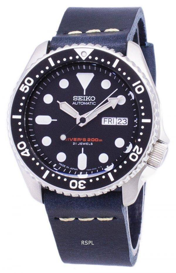 Seiko Automatic SKX007J1-LS15 Diver's 200M Japan Made Dark Blue Leather Strap Men's Watch