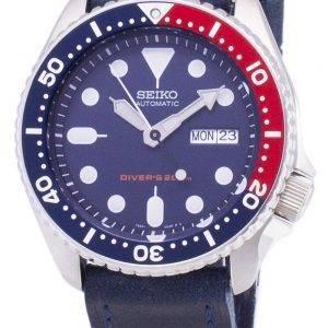 Seiko Automatic SKX009K1-LS13 Diver's 200M Dark Blue Leather Strap Men's Watch