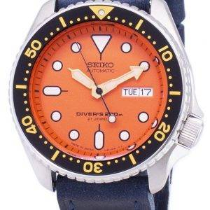Seiko Automatic SKX011J1-LS13 Diver's 200M Dark Blue Leather Strap Men's Watch
