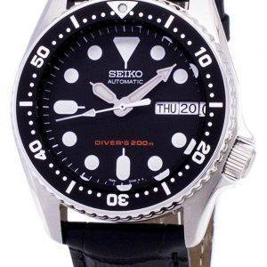 Seiko Automatic SKX013K1-MS1 Diver's 200M Black Leather Strap Men's Watch