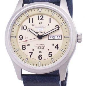 Seiko 5 Sports SNZG07J1-LS15 Military Japan Made Dark Blue Leather Srtap Men's Watch