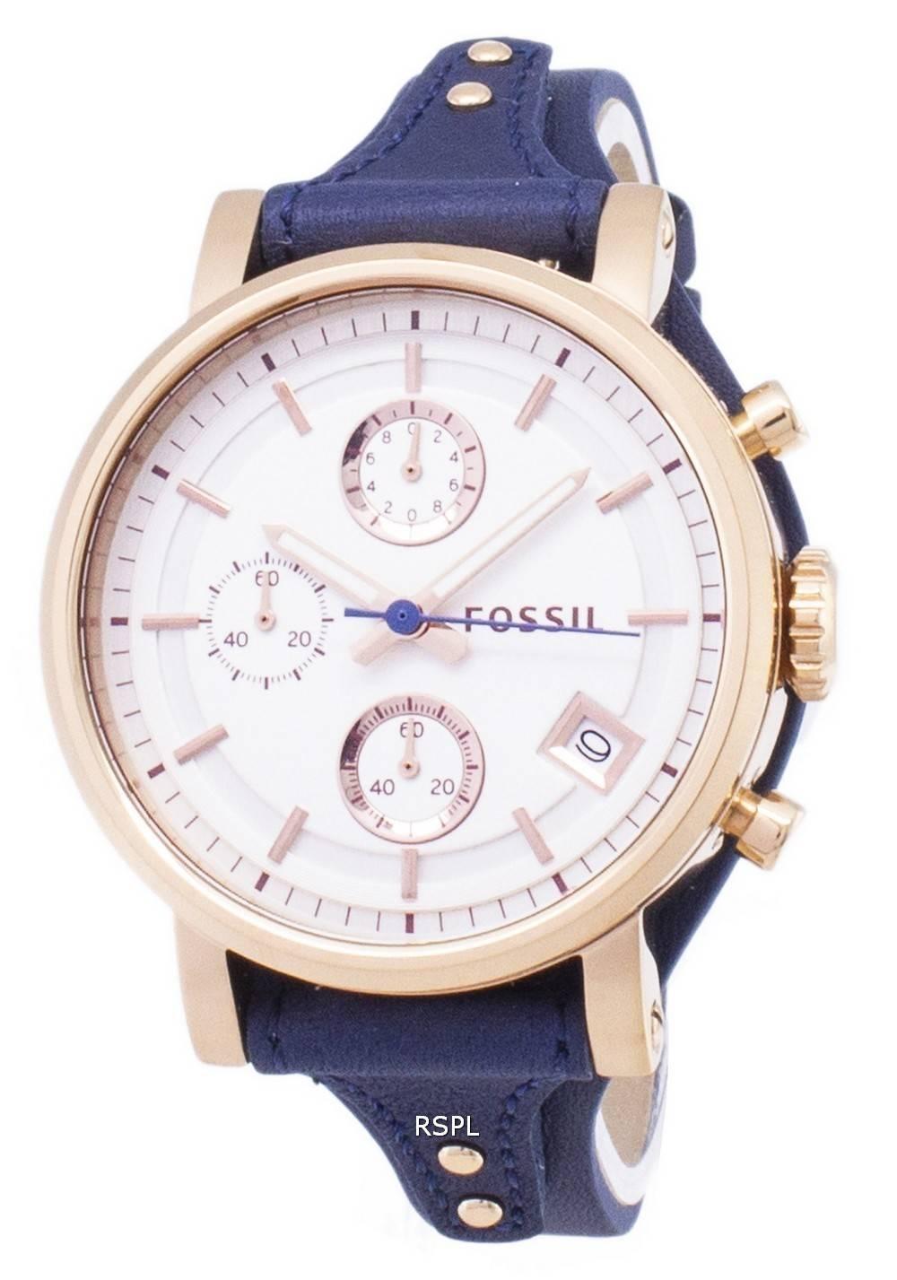 712be99ae Fossil Original Boyfriend Quartz Chronograph Blue Leather Strap ES3838 Womens  Watch